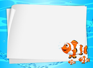 Blank paper banner with cute fish and on the underwater background