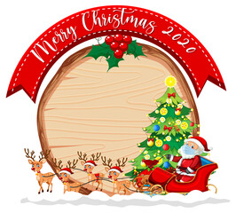 Blank wooden board with Merry Christmas 2020 font logo and Santa Claus on sleigh and his reindeers
