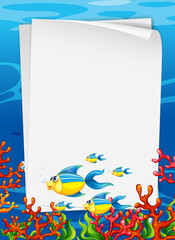 Blank paper template with exotic fishes cartoon character in the underwater scene