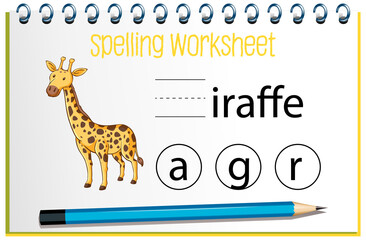 Find missing letter with giraffe