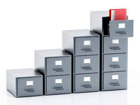 Rising file cabinets isolated on white background. 3D illustration