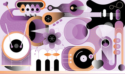 Music design. Abstract vector illustration of various musical instruments. Electric guitar, saxophone, piano keys, trumpet, drum with drumsticks, gramophone, flower and heart shape.