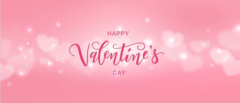 Happy Valentine's day text, hand lettering typography poster with hearts. Vector illustration. Romantic quote postcard, card, invitation, banner template.