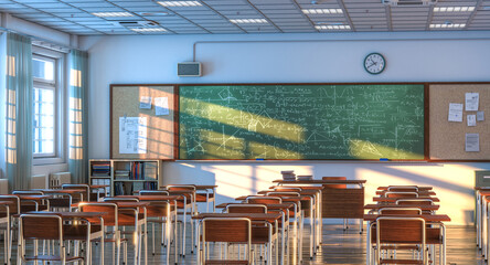 Fototapeta interior of a school classroom with wooden desks and chairs. obraz