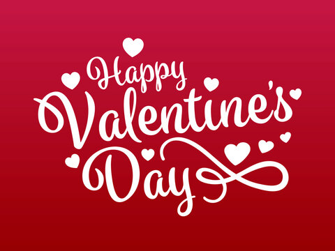 Happy Valentine's Day greeting card. Lettering with hearts
