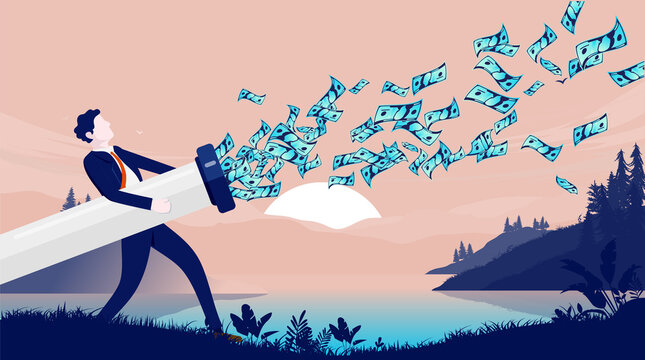 Wasting money - Businessman with pipe leaking money in to nature. Money poring out of businesses, and loosing money concept. Vector illustration.