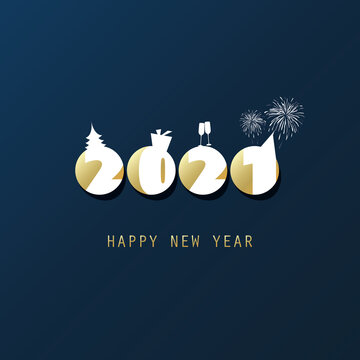 Simple Dark Blue, White and Golden New Year Card, Cover or Background Design Template - 2021
