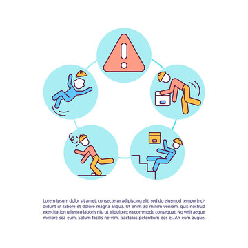 Accidents in warehouse precaution concept icon with text. Slip, trip and fall prevention. Worker safety. PPT page vector template. Brochure, magazine, booklet design element with linear illustrations