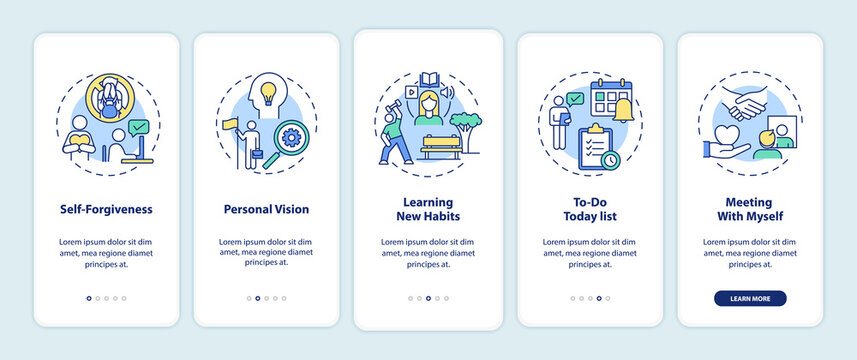 Fighting procrastination methods onboarding mobile app page screen with concepts. To-do list, learning habits walkthrough 5 steps graphic instructions. UI vector template with RGB color illustrations