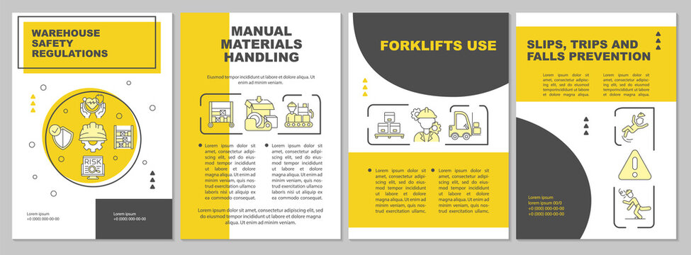 Warehouse brochure template. Slips, trips, falls precaution. Flyer, booklet, leaflet print, cover design with linear icons. Vector layouts for magazines, annual reports, advertising posters