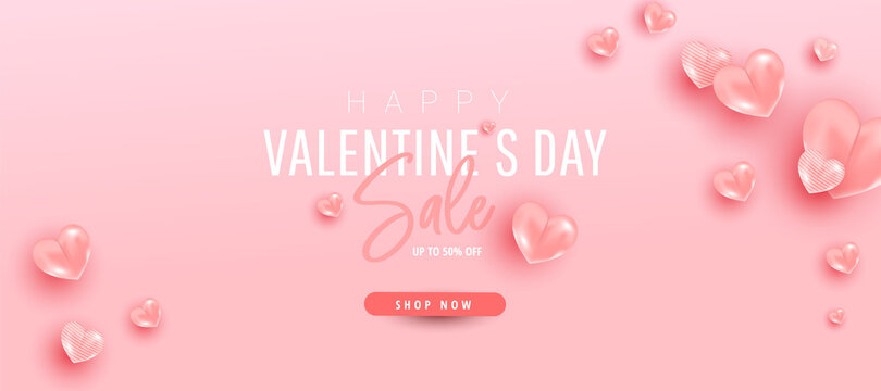 Valentines day vector design concept. Minimal pink air heart ballons fly in the air with discount text on pink background.
