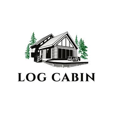 vintage log cabin logo vector illustration design