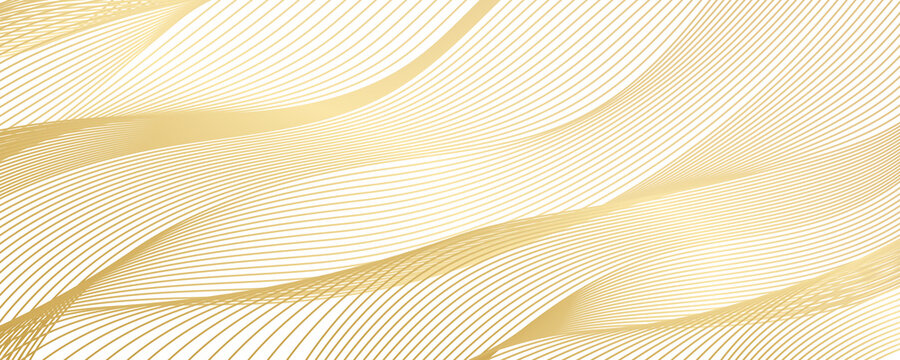 Tech geometric background with abstract golden and grey waves. Gold white background. Vector banner design