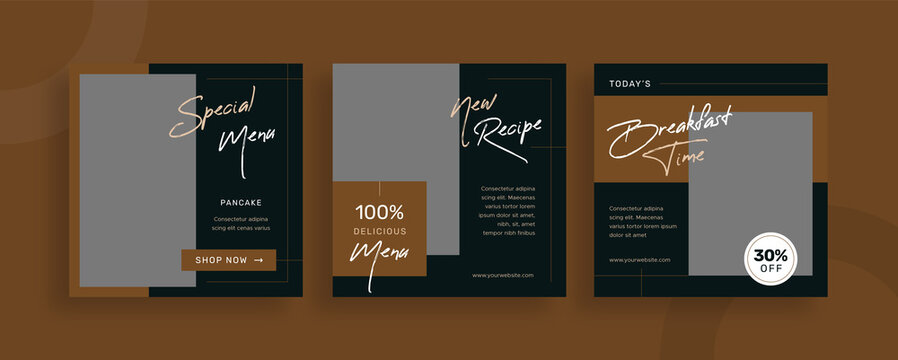 Set of editable templates for Instagram post, Facebook square frame, social media, culinary, advertisement, and business promotion, fresh design with brown color and minimalist vector (3/3)