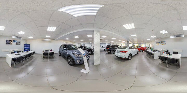 GRODNO, BELARUS -MARCH, 2019: full seamless spherical hdri panorama 360 degrees angle view inside of interior modern car center shop in equirectangular projection. ready for vr ar virtual reality