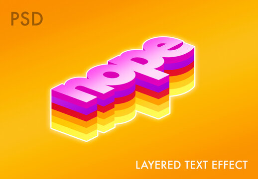 Bright Layered Text Effect Mockup