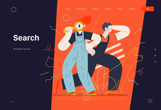 Business topics -search, web template, header. Flat style modern outlined vector concept illustration. Young man looking forward and a woman with magnifying glass looking through it. Business metaphor
