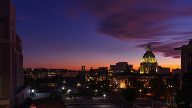 Image at dusk looking south showing the Pasadena City Hall and other buildings around the civic center.