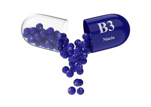 Open capsule with b3 niacin from which the vitamin composition is poured. Medical 3D rendering illustration