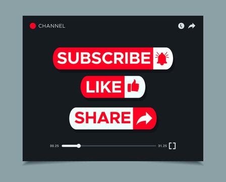 Subscribe, like, share icon modern design template