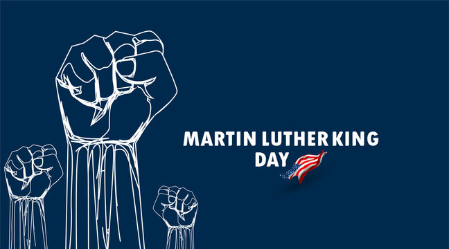 Martin Luther King Jr day with raised fist. Spirit civil rights of blacks together united