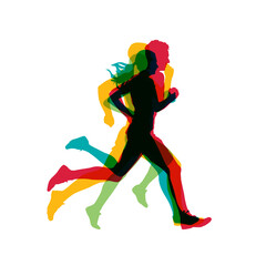Running people, group of men and women. Runners vector silhouettes