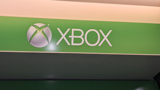 Xbox Series X one Green Microsoft sign and logo on toys store
