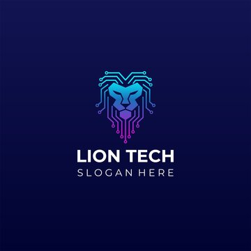 Lion tech logo designs concept vector. Lion head network icon logo template