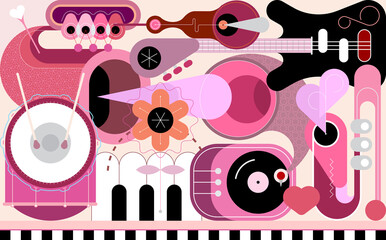 Music design. Abstract vector illustration of various musical instruments. Modern electric guitar, saxophone, piano keys, trumpet, drum with drumsticks, gramophone, flower and red heart shape.