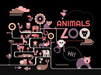 Vector illustration with many different icons of animals, birds and fish on a black background. Concept design of Zoo Animals.