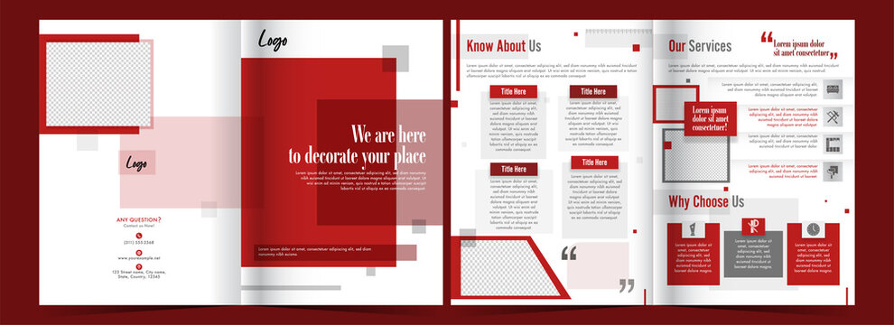 Front And Back View Of Bi-Fold Brochure Template Or Cover Page In Red And White Color.