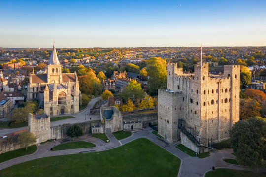 Aerial view of Rochester cathedral and castle