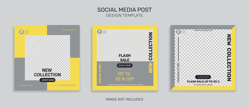 Fashion Sale instagram post bundle kit promotion template  with color of the year 2021
