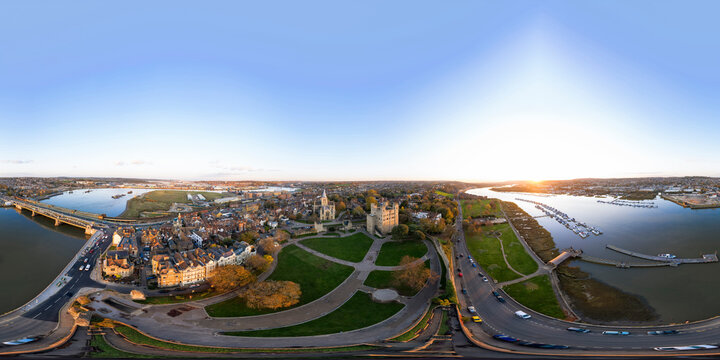 Spherical panorama of historical Rochester at sunset