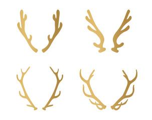 set of golden deer antlers - vector illustration