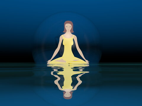Young woman meditating peacefully in a bubble upon water by deep night - 3D render