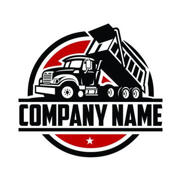 Dump truck company ready made logo template set vector isolated