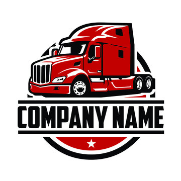 Semi truck 18 wheeler logo template