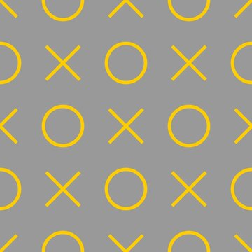 Tile xo noughts and crosses yellow and grey vector pattern