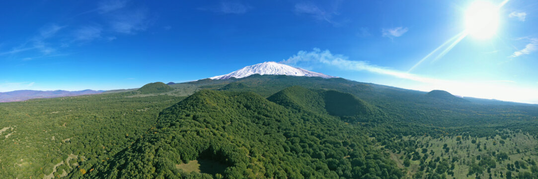 Virtual reality 180 degree panoramic view of the Etna volcano with its lava flows and its secondary craters.