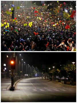 A combo picture shows people releasing balloons to celebrate the New Year's countdown event and the same place during a curfew to restrict large gatherings, in Ahmedabad
