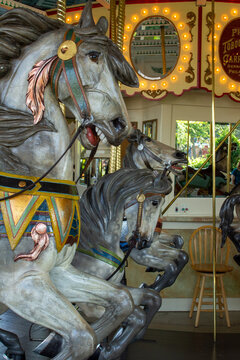 Close up view of the horses on Cafesjian's Carousel at Como Park Zoo and Conservatory on September 2, 2017, in St. Paul, Minnesota