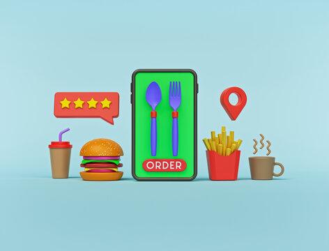 Order food online concept with smartphone. minimal design for advertising. 3d rendering