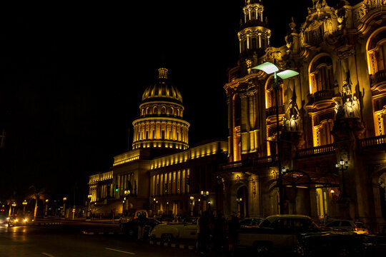 National Capitol Building of Cuba in night view