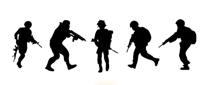 army troops soldiers with rifle silhouette vector collection