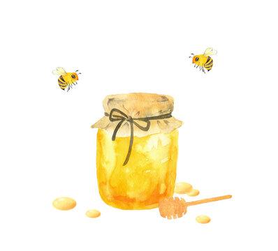 ハチミツとミツバチの水彩イラスト