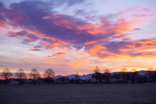 Sonnenaufgang Neujahr 2021 bei Burckmühl