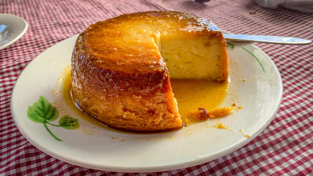 Traditional Cuban Flan served in plate