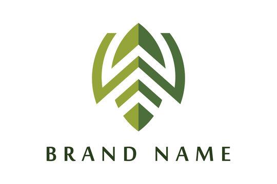 green leafy W letter logo