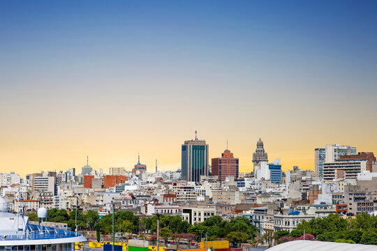 Montevideo, Uruguay-February 28, 2020: View of the city from the port. It is the main commercial port of Uruguay. In the center of the picture, in the distance, you can see the Salvo Palace.